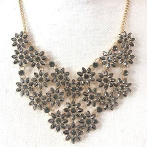 INC Flower Costume Necklace Gold Gray